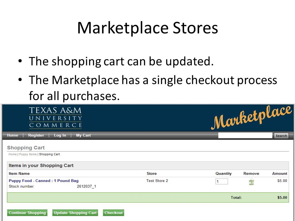 Marketplace Stores The shopping cart can be updated.