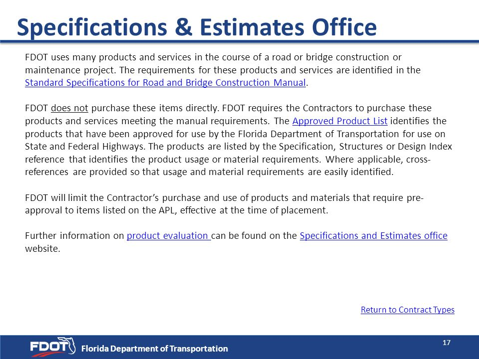 Specifications & Estimates Office