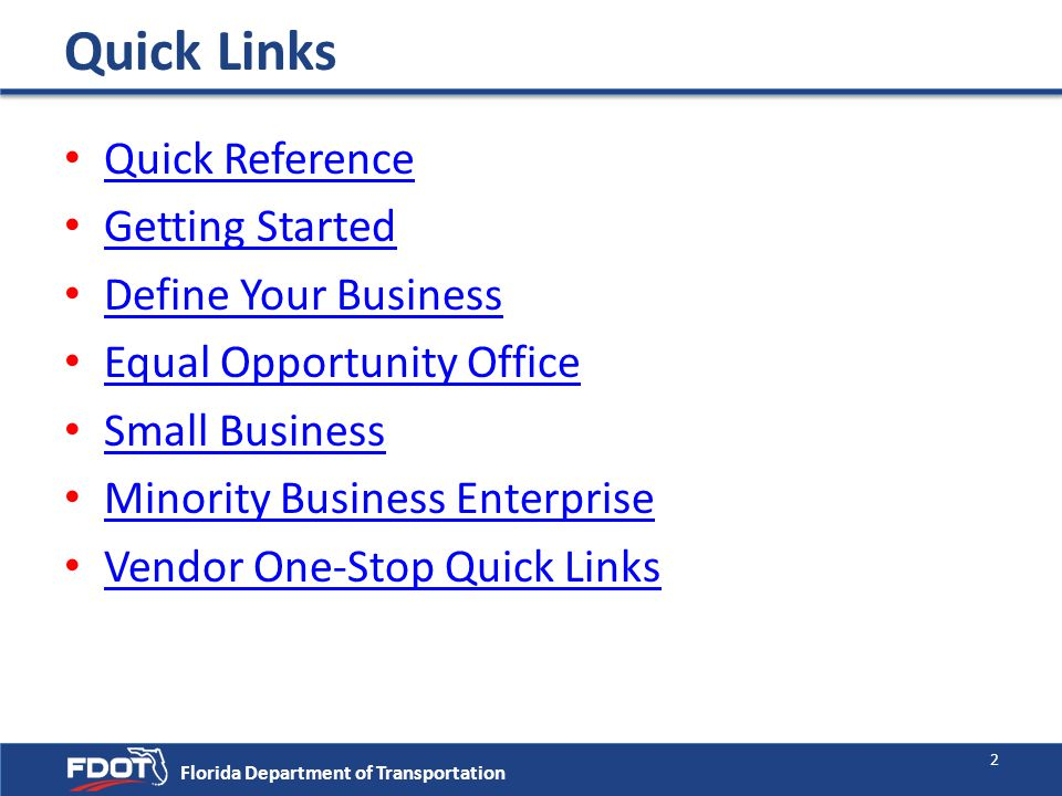 Quick Links Quick Reference Getting Started Define Your Business