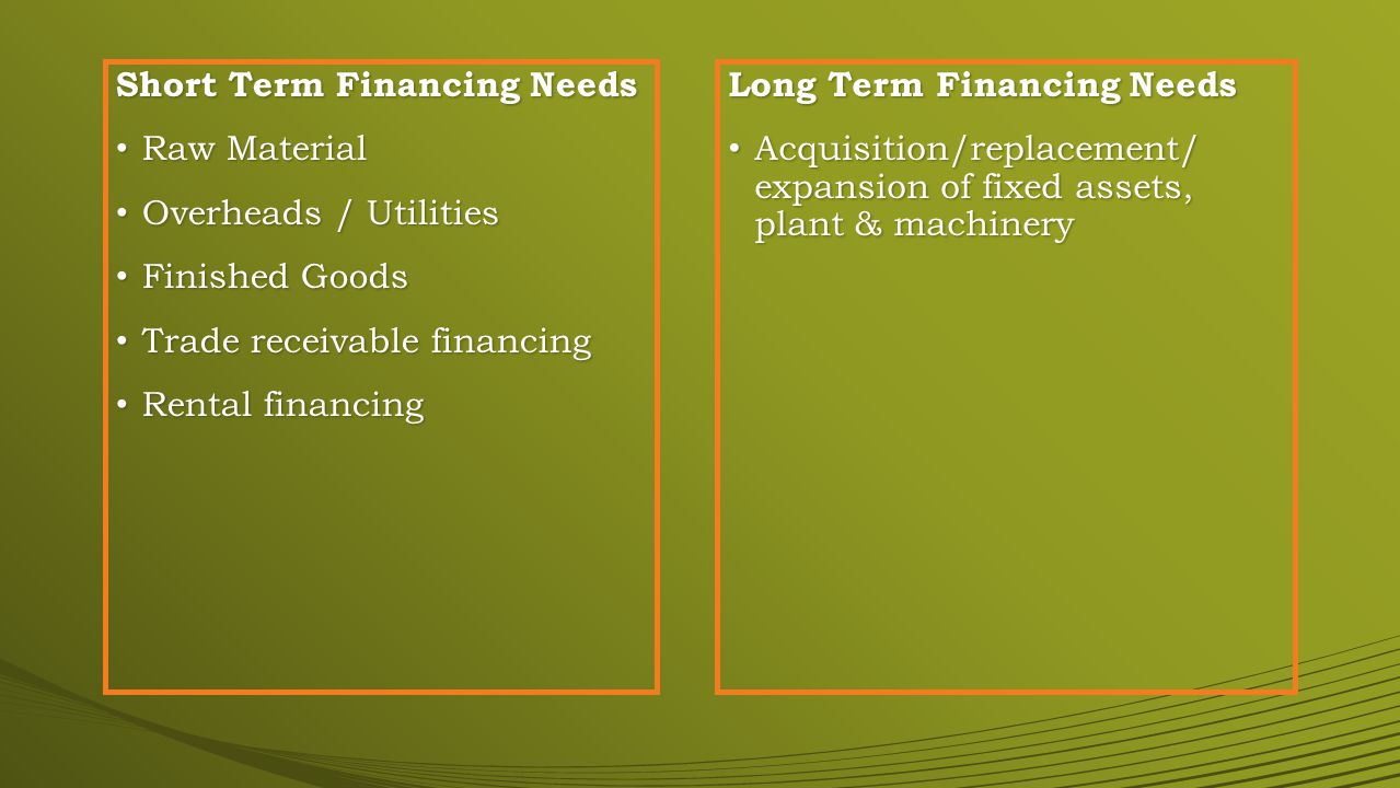 Short Term Financing Needs