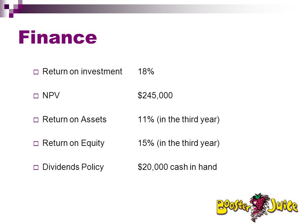 Finance Return on investment 18% NPV $245,000