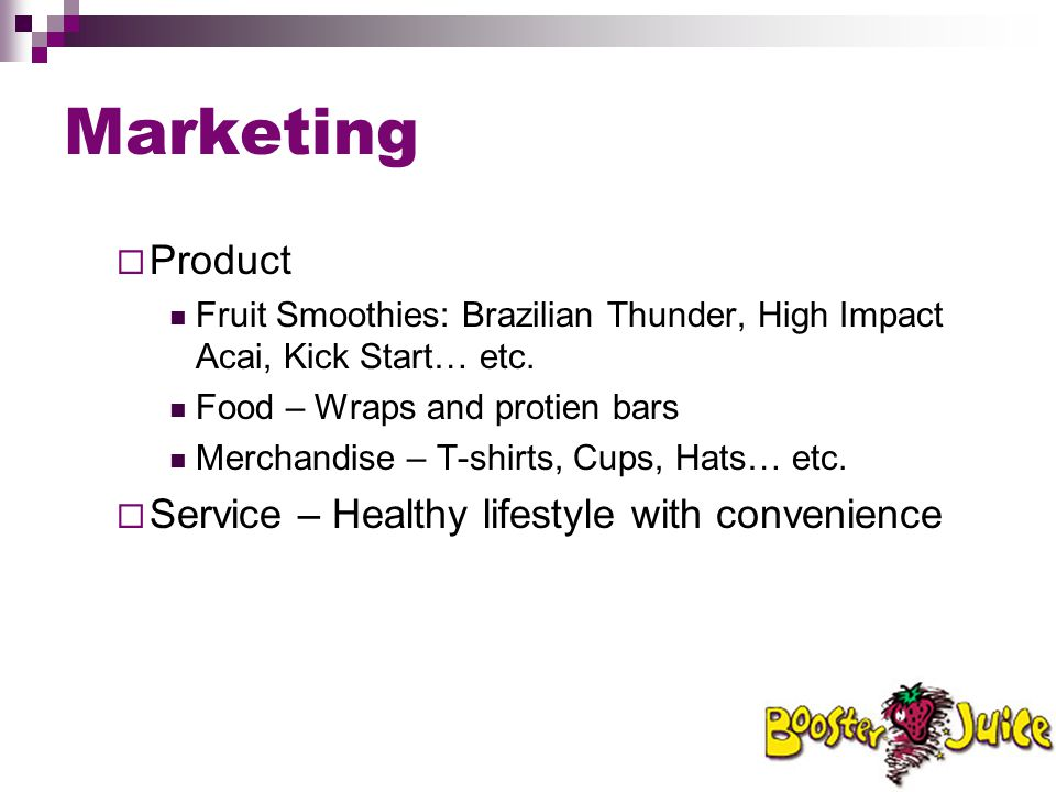 Marketing Product Service – Healthy lifestyle with convenience