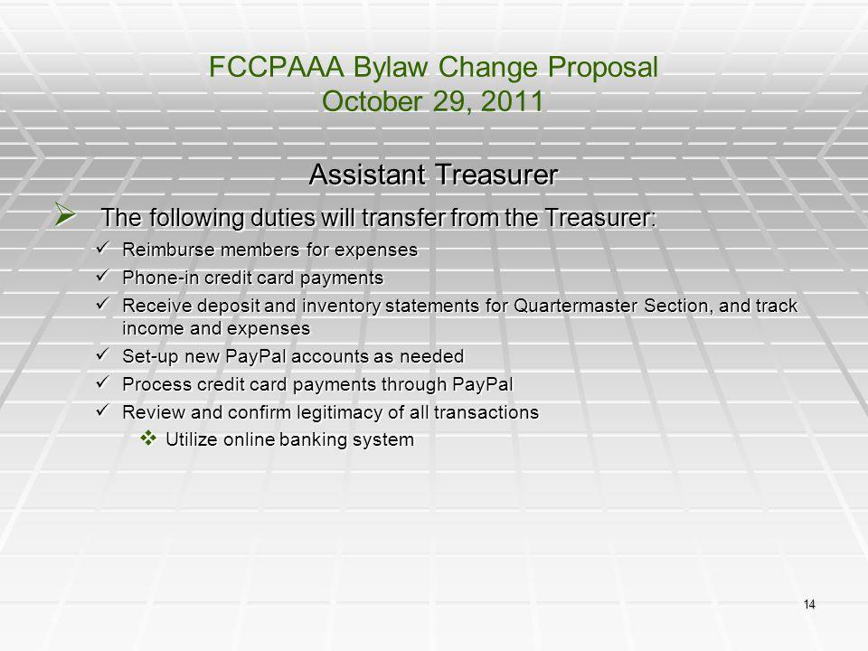 FCCPAAA Bylaw Change Proposal October 29, 2011