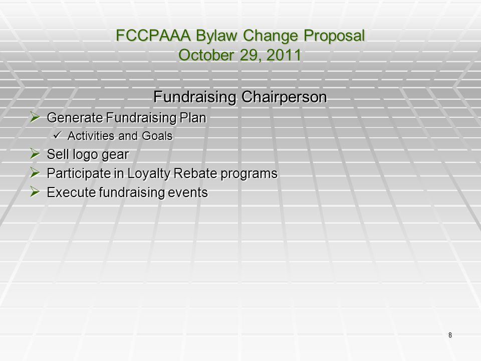 FCCPAAA Bylaw Change Proposal October 29, 2011