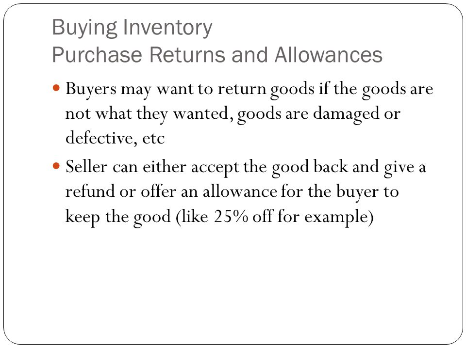 Buying Inventory Purchase Returns and Allowances