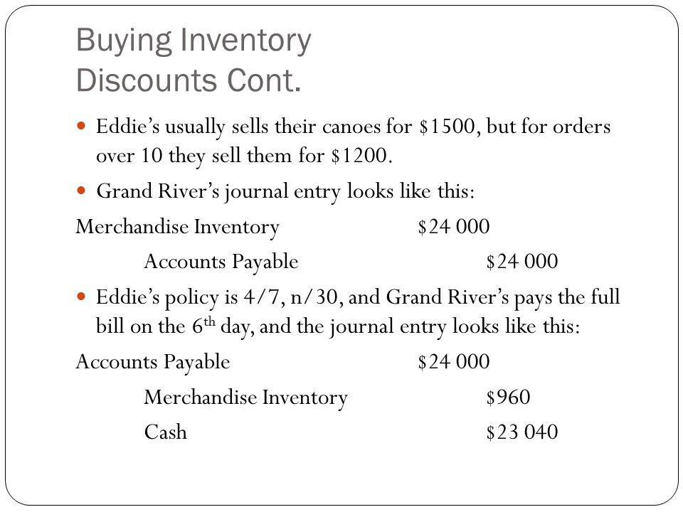 Buying Inventory Discounts Cont.