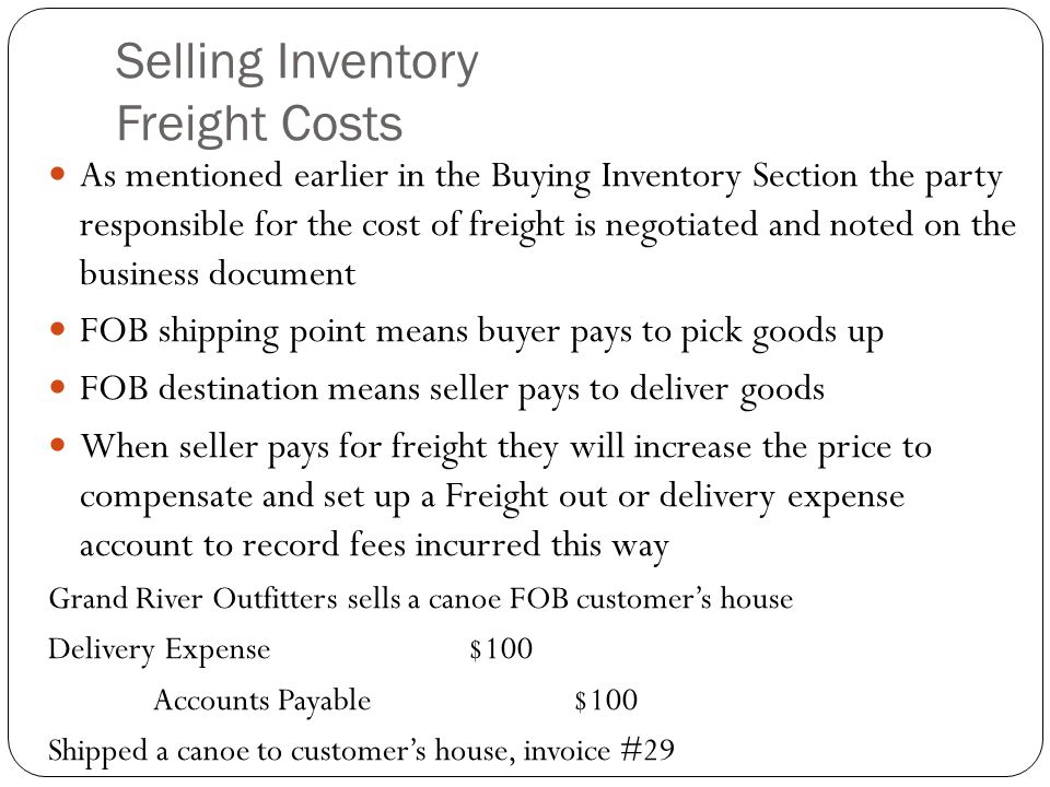 Selling Inventory Freight Costs