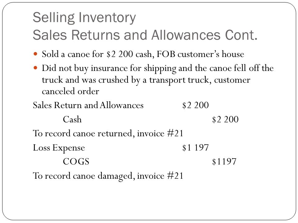 Selling Inventory Sales Returns and Allowances Cont.
