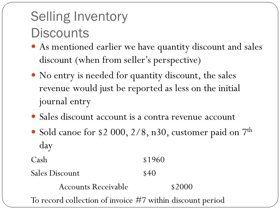 Selling Inventory Discounts