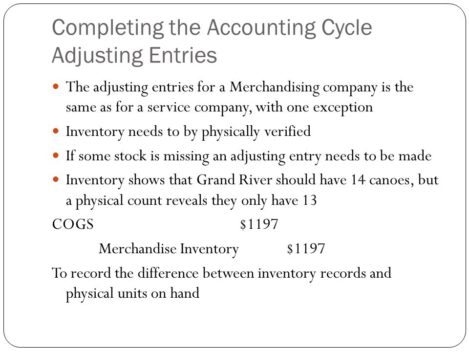 Completing the Accounting Cycle Adjusting Entries
