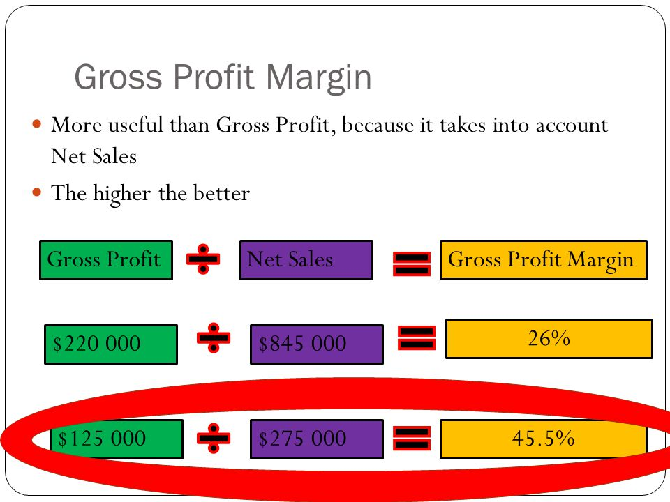 Gross Profit Margin More useful than Gross Profit, because it takes into account Net Sales. The higher the better.