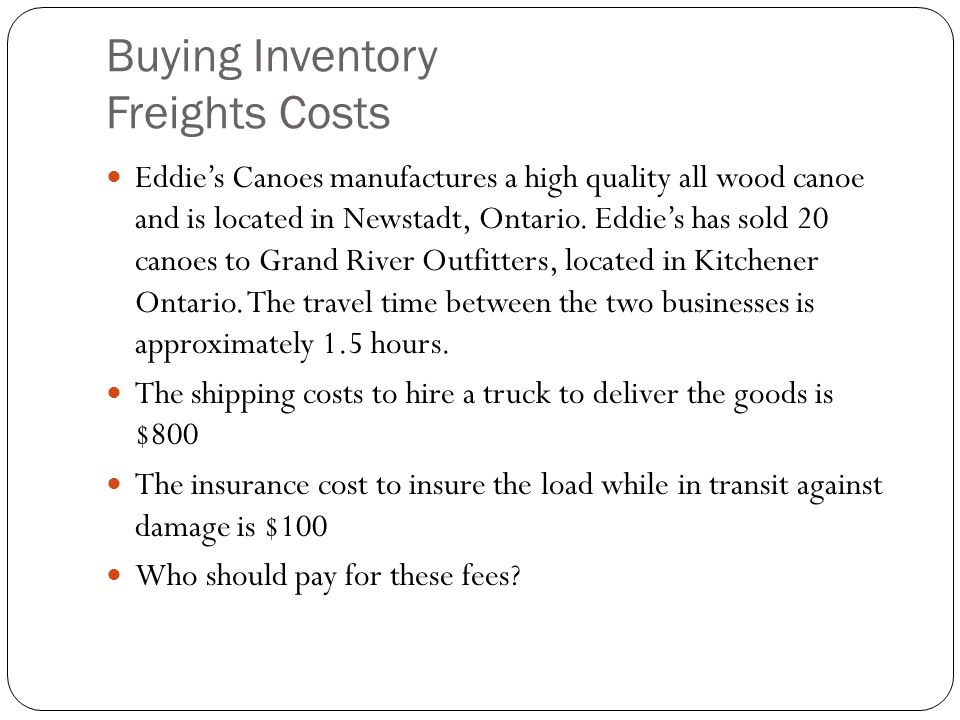 Buying Inventory Freights Costs