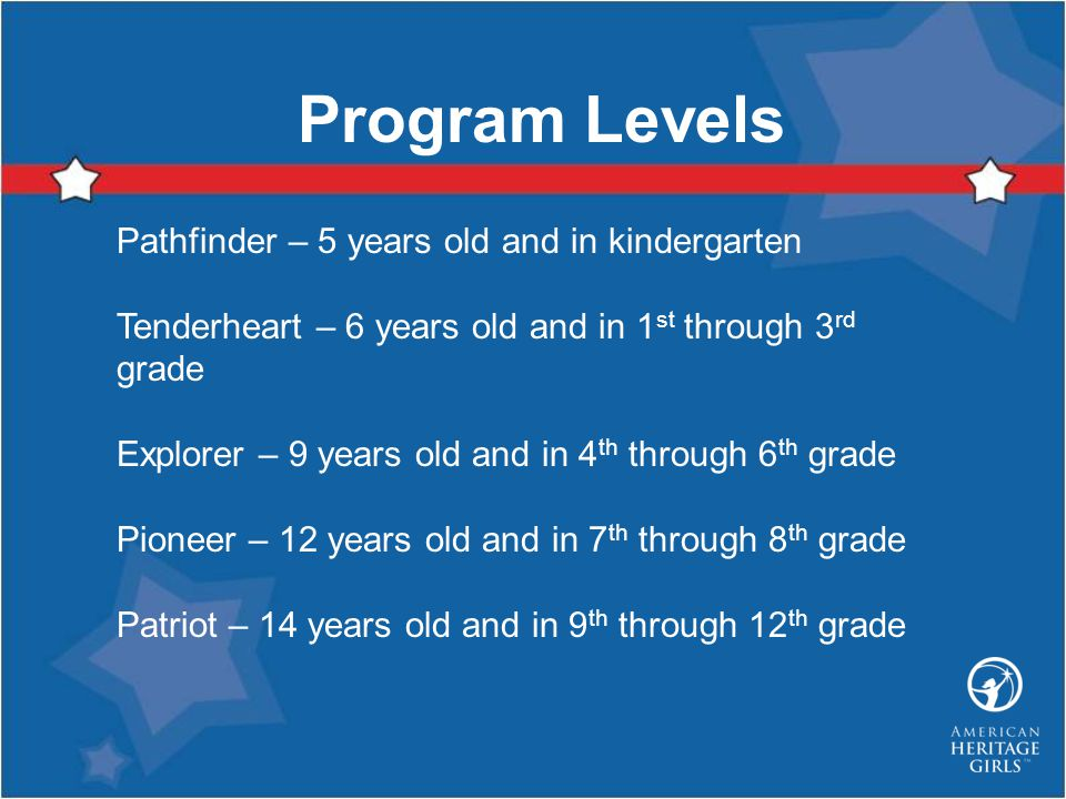 Program Levels Pathfinder – 5 years old and in kindergarten