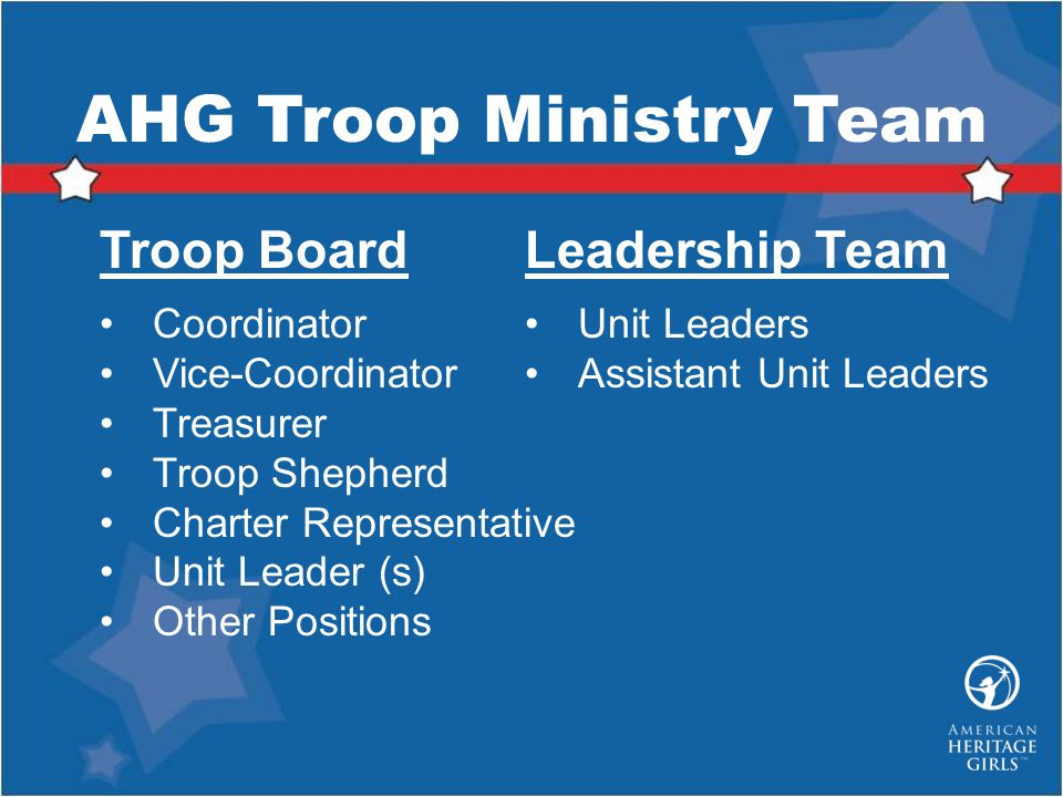 AHG Troop Ministry Team