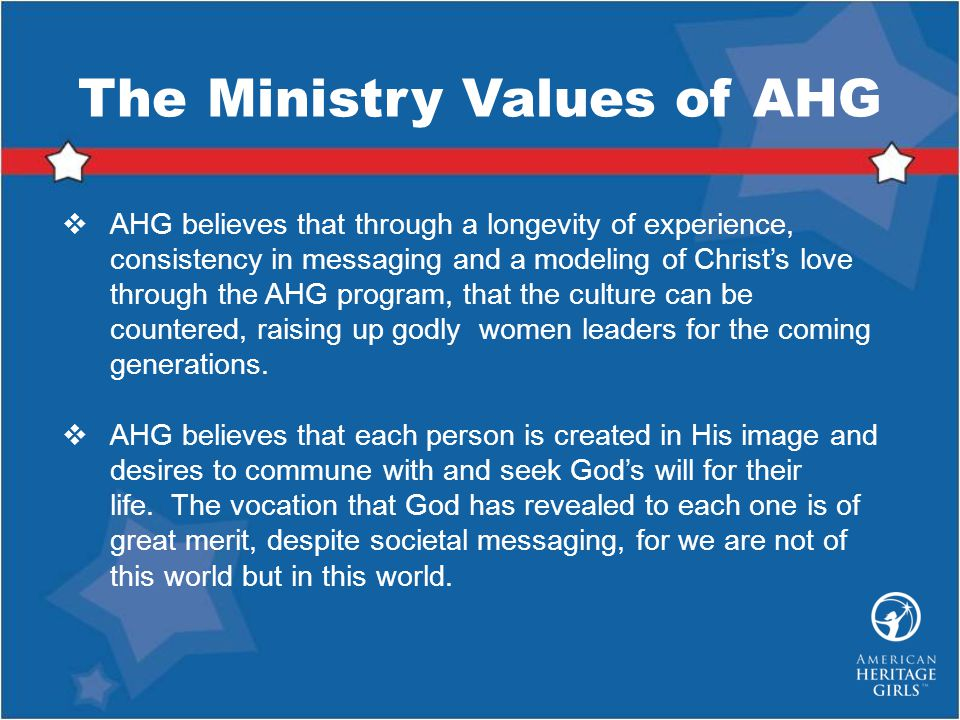 The Ministry Values of AHG