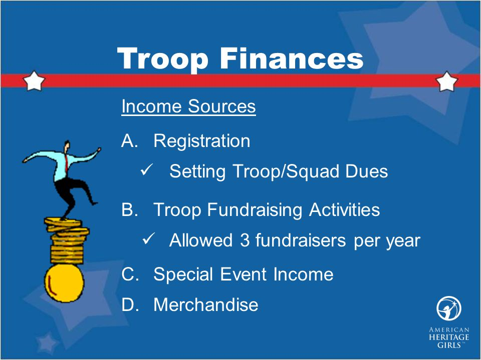Troop Finances Income Sources Registration Setting Troop/Squad Dues