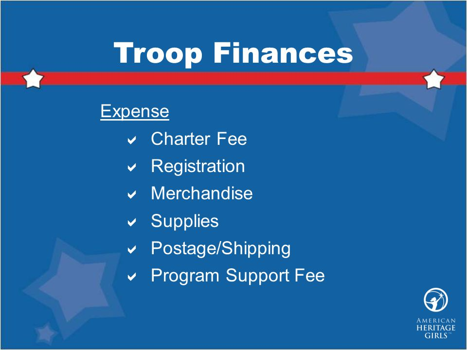 Troop Finances Expense Charter Fee Registration Merchandise Supplies