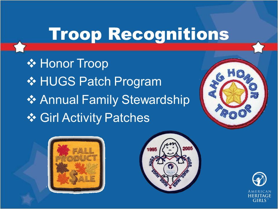Troop Recognitions Honor Troop HUGS Patch Program