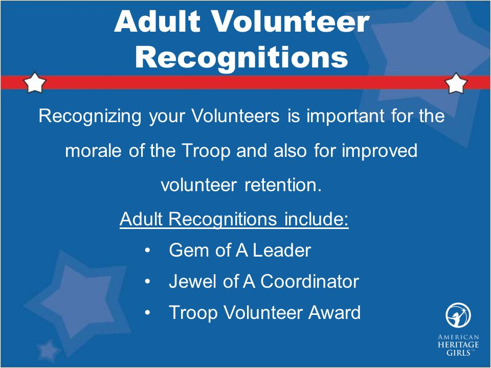 Adult Volunteer Recognitions
