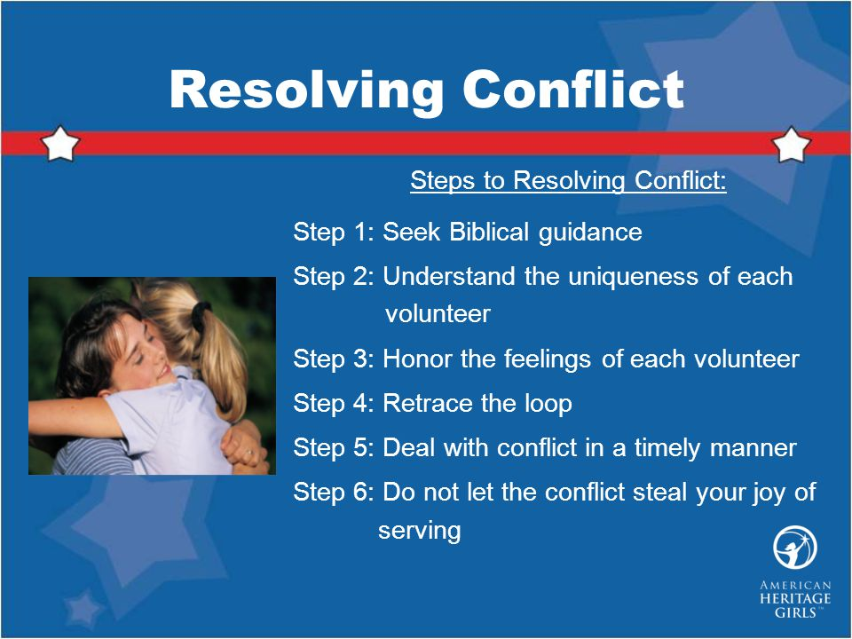 Steps to Resolving Conflict: