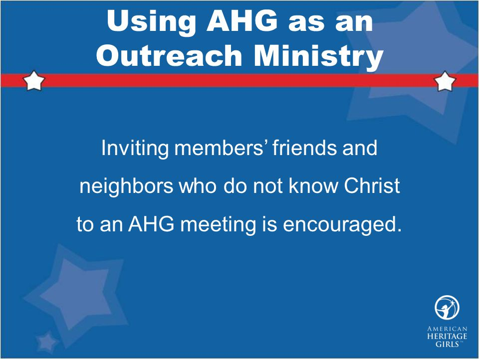Using AHG as an Outreach Ministry