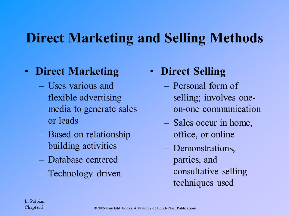 Direct Marketing and Selling Methods