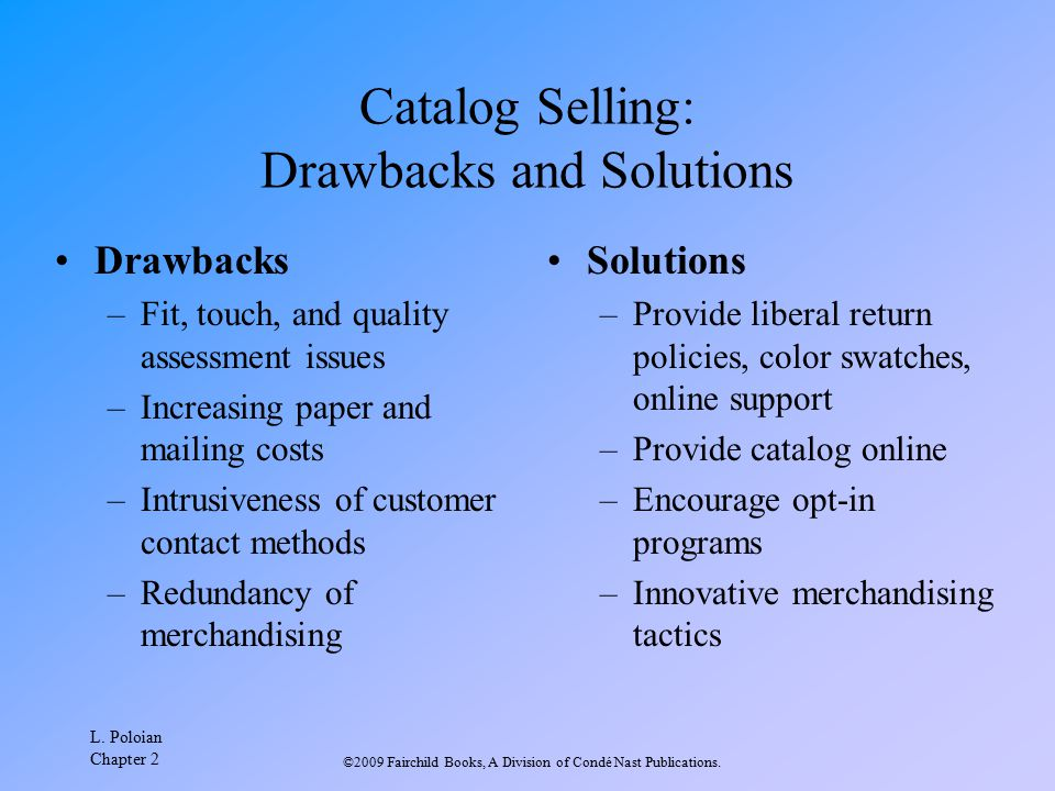 Catalog Selling: Drawbacks and Solutions