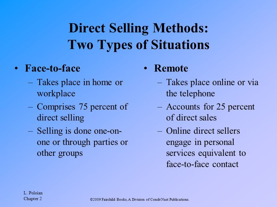 Direct Selling Methods: Two Types of Situations