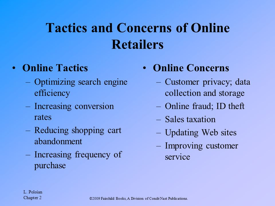 Tactics and Concerns of Online Retailers