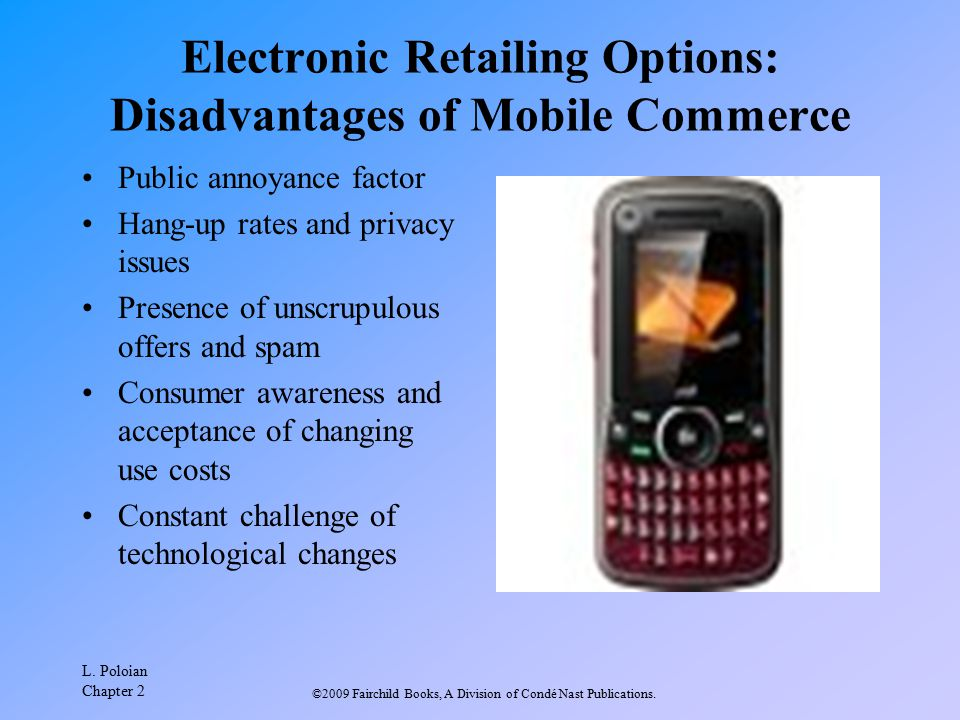 Electronic Retailing Options: Disadvantages of Mobile Commerce