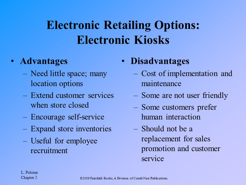 Electronic Retailing Options: Electronic Kiosks