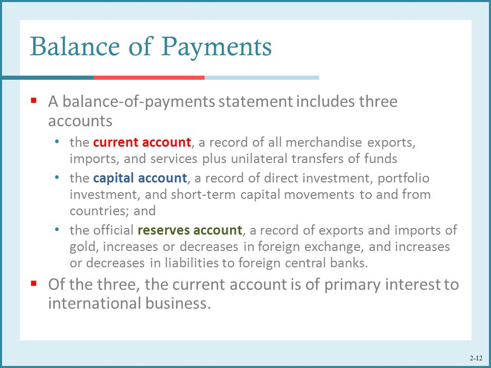 Balance of Payments A balance-of-payments statement includes three accounts.