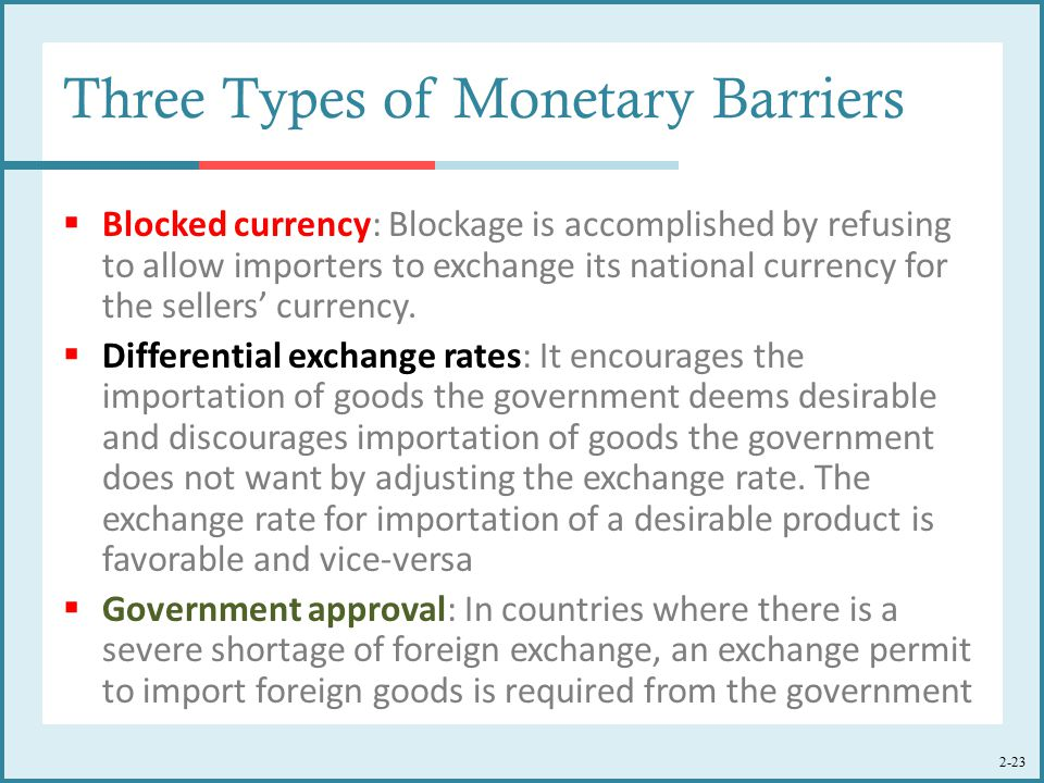 Three Types of Monetary Barriers