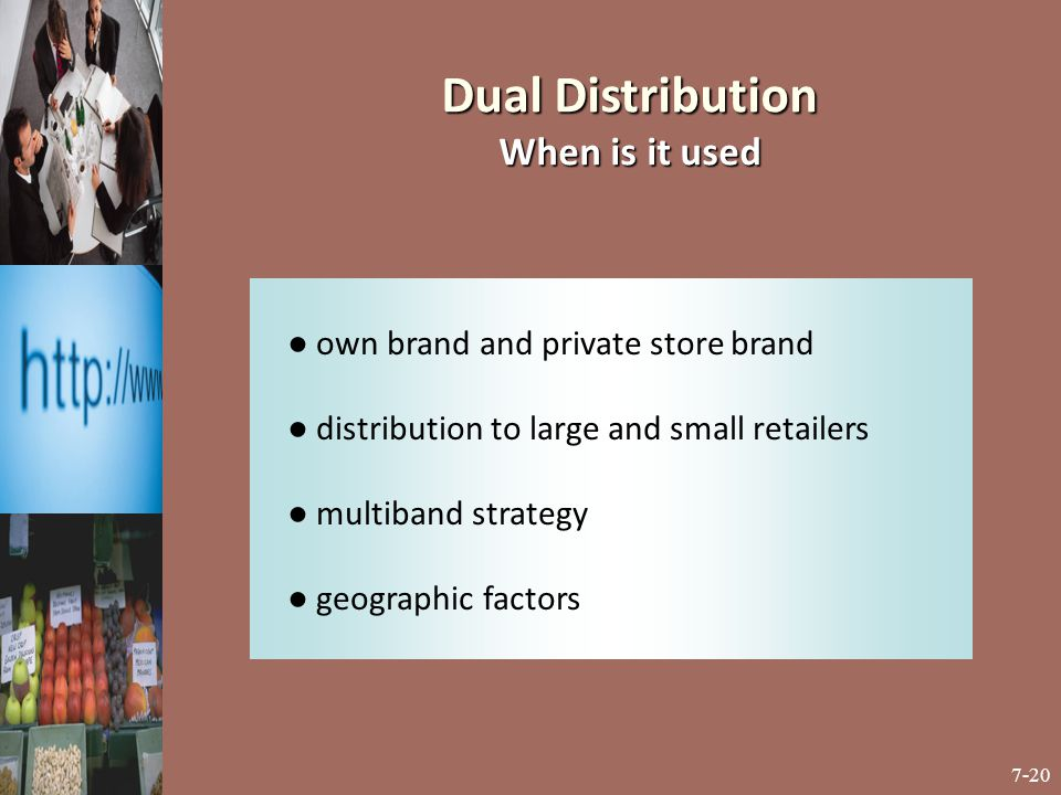 Dual Distribution When is it used ● own brand and private store brand