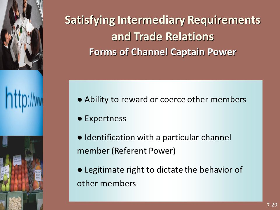 Satisfying Intermediary Requirements and Trade Relations Forms of Channel Captain Power