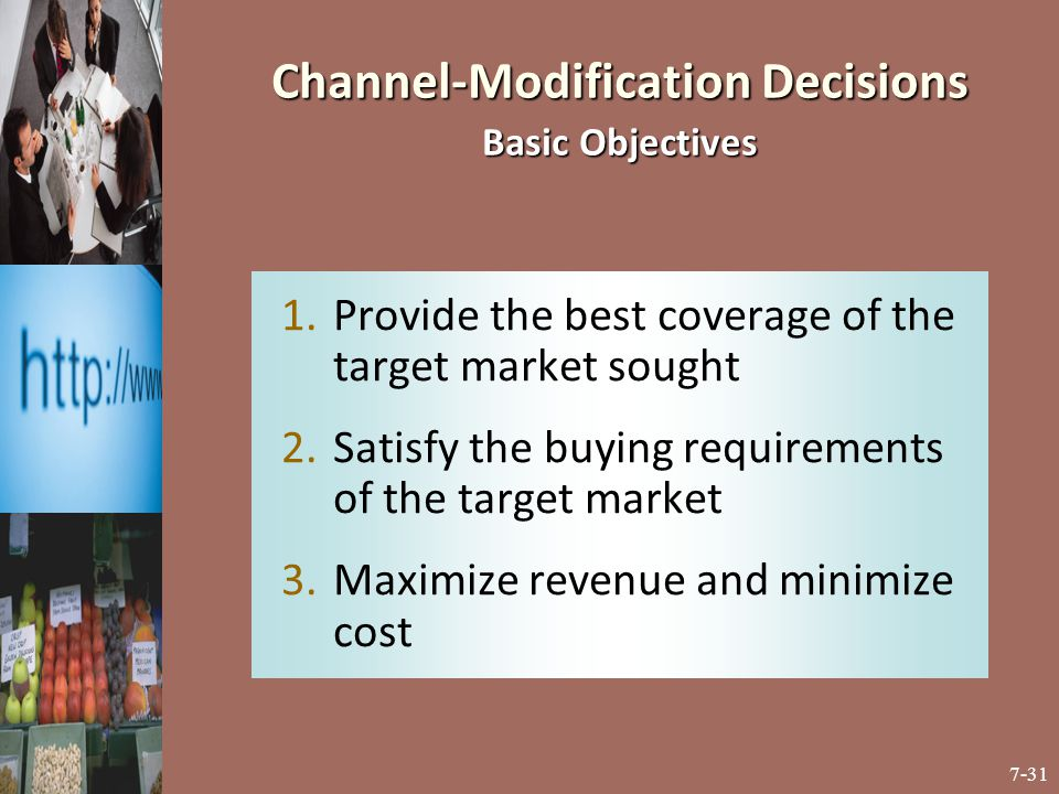 Channel-Modification Decisions Basic Objectives