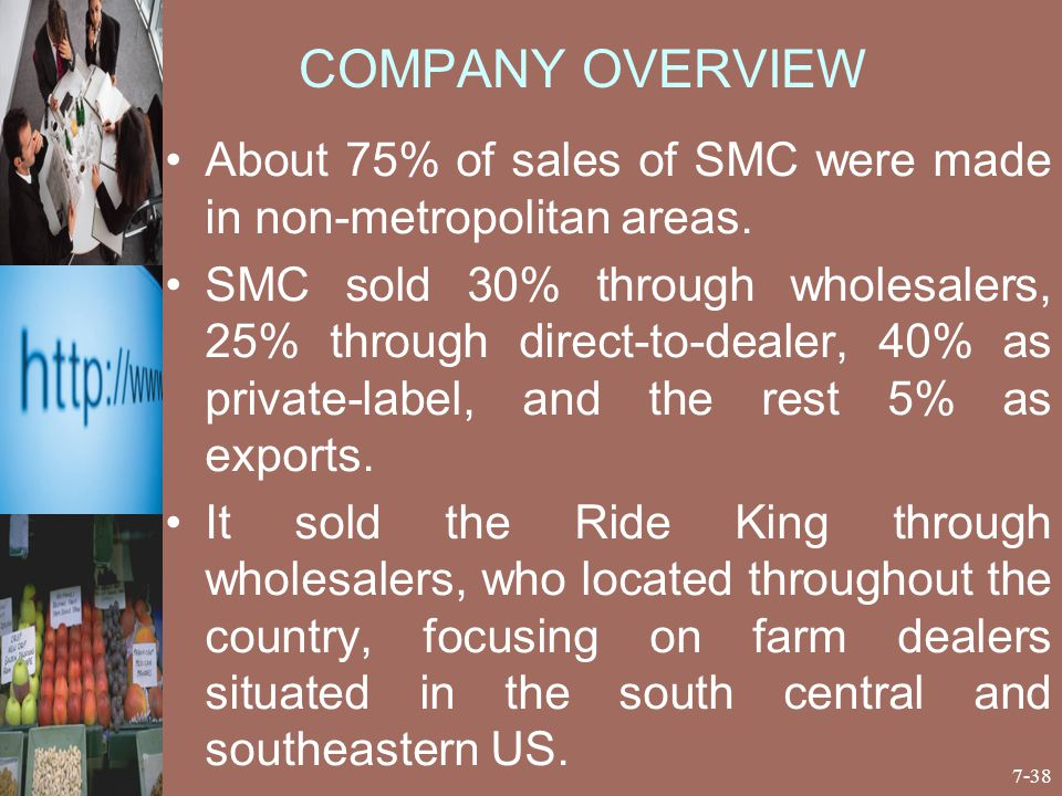 COMPANY OVERVIEW About 75% of sales of SMC were made in non-metropolitan areas.