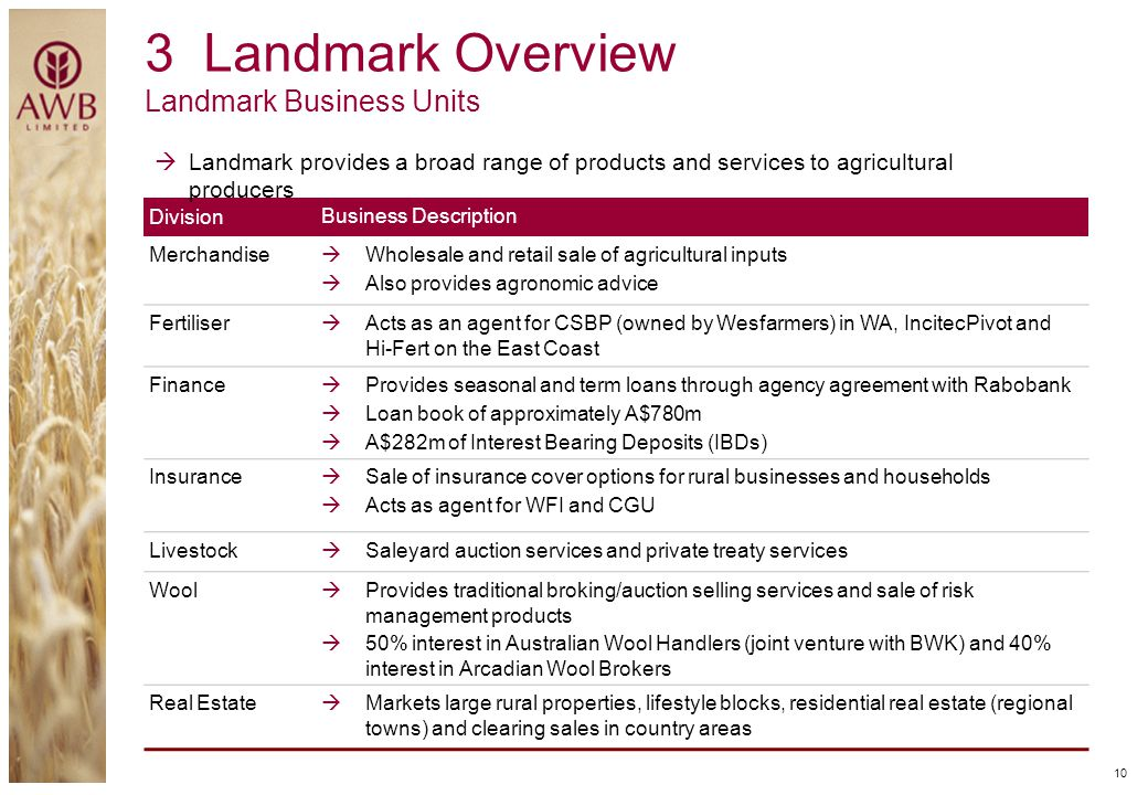 3 Landmark Overview Landmark Business Units