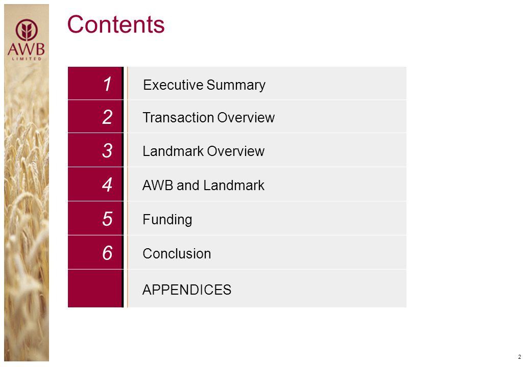 Contents 1 2 3 4 5 6 Executive Summary Transaction Overview