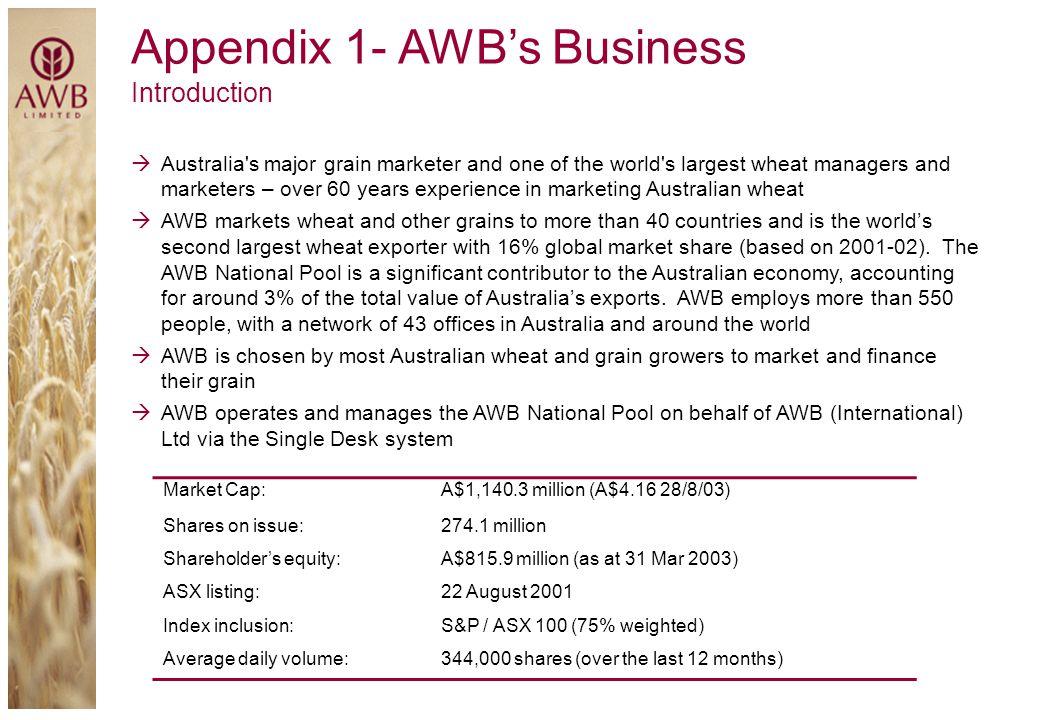 Appendix 1- AWB's Business
