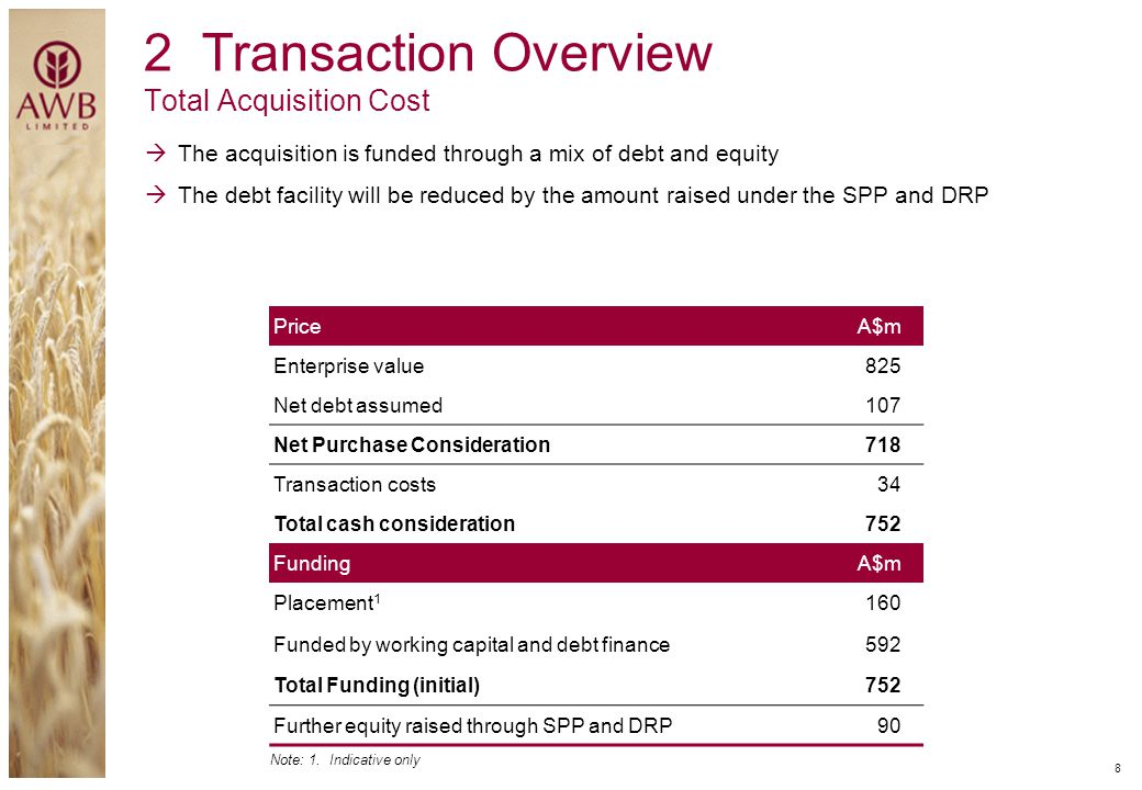 2 Transaction Overview Total Acquisition Cost