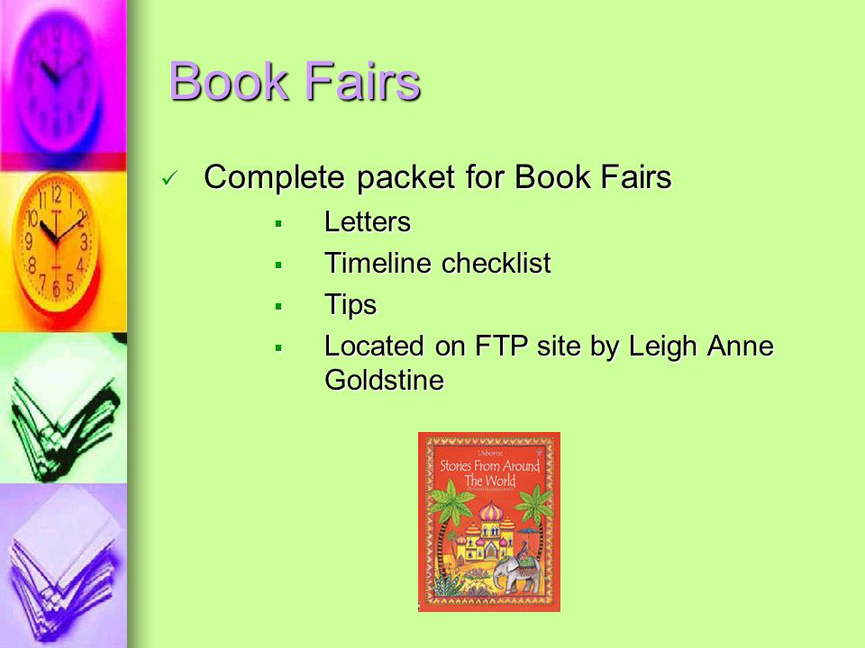 Book Fairs Complete packet for Book Fairs Letters Timeline checklist