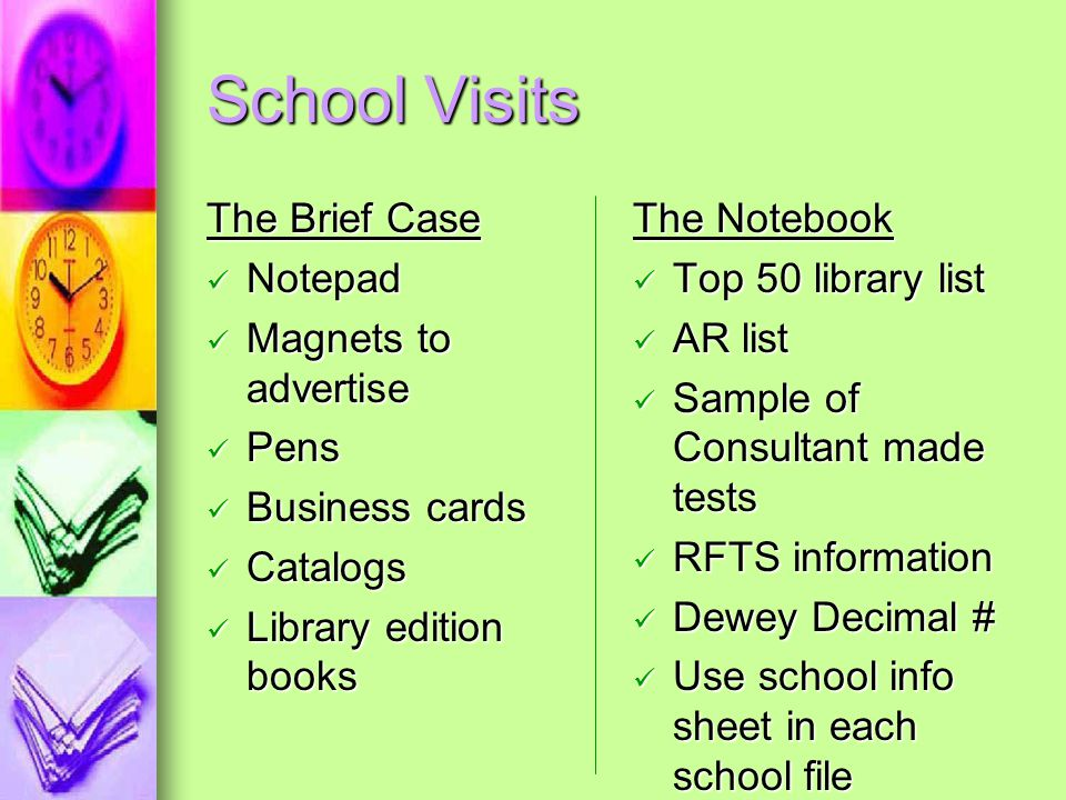 School Visits The Brief Case Notepad Magnets to advertise Pens