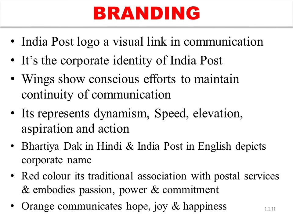 BRANDING India Post logo a visual link in communication