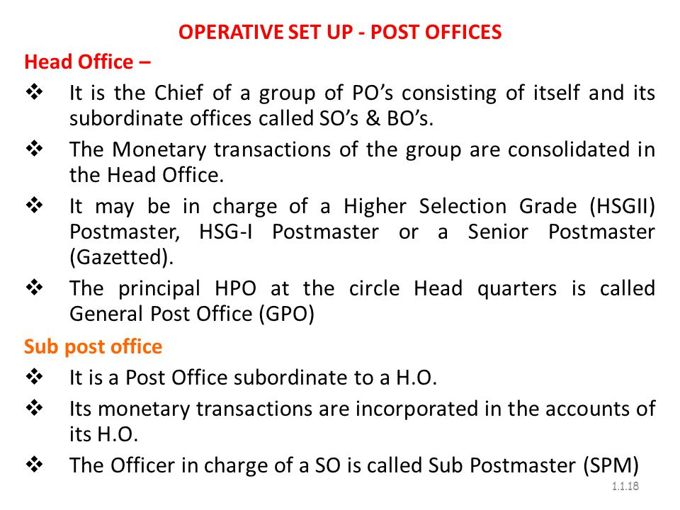 OPERATIVE SET UP - POST OFFICES