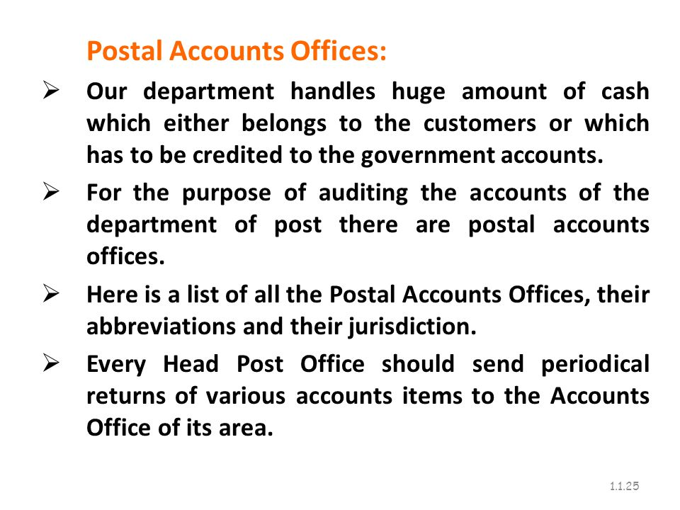 Postal Accounts Offices: