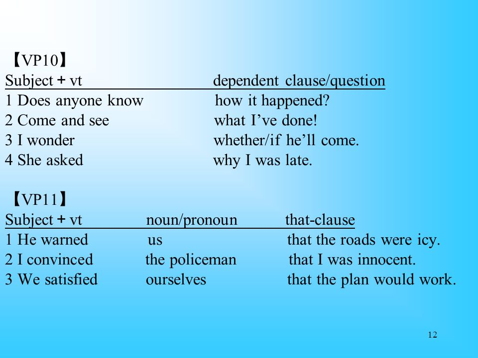 【VP10】 Subject+vt dependent clause/question 1 Does anyone know how it happened.