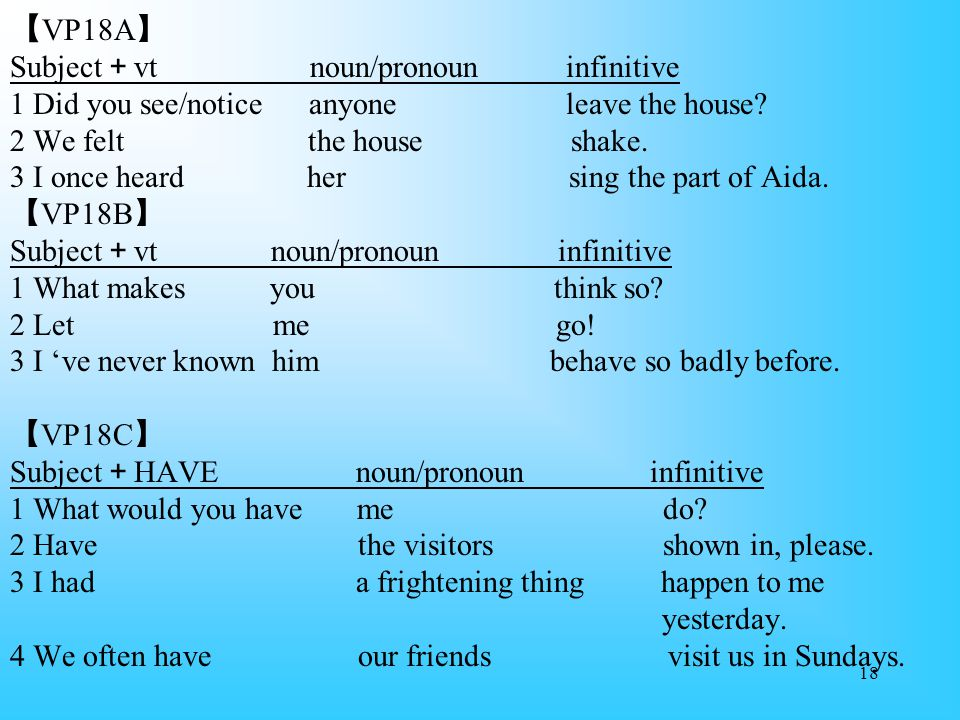 【VP18A】 Subject+vt noun/pronoun infinitive 1 Did you see/notice anyone leave the house.