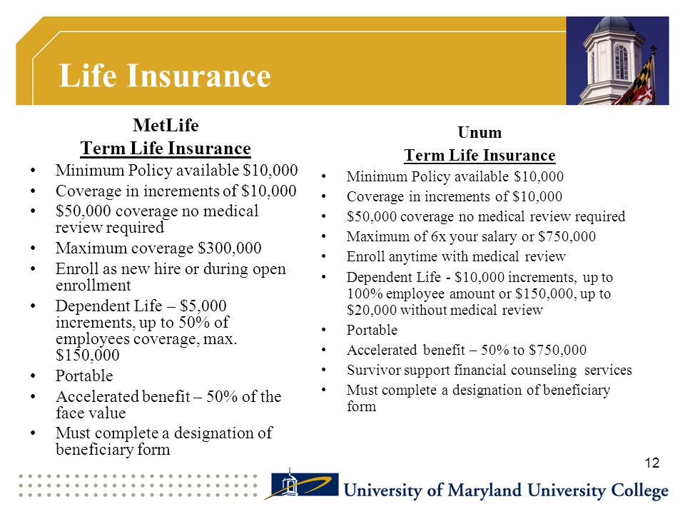 Life Insurance MetLife Term Life Insurance Unum Term Life Insurance