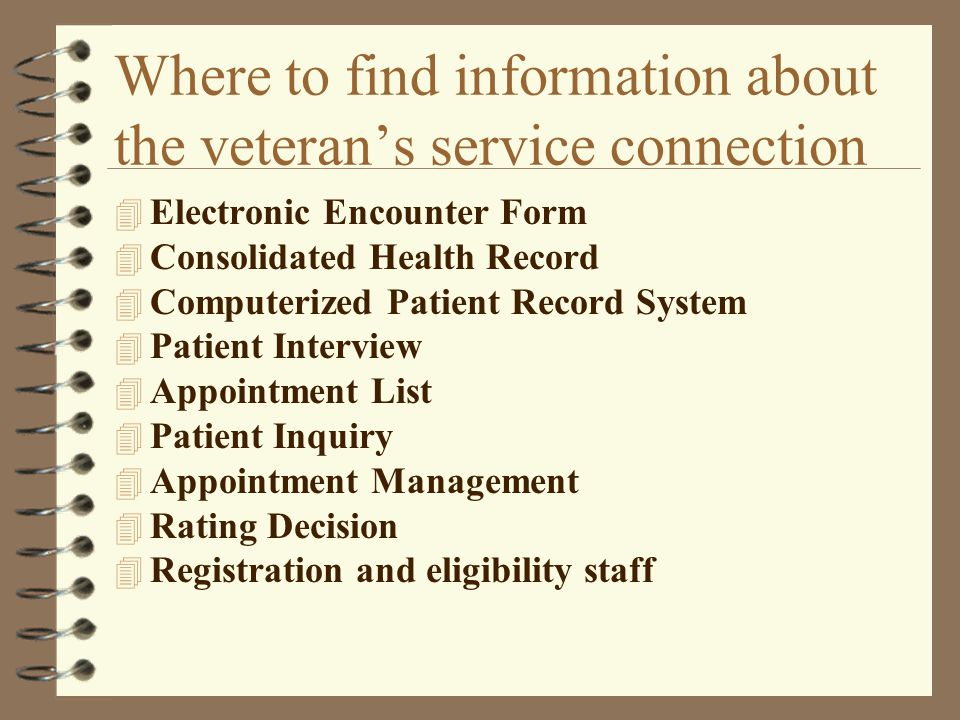 Where to find information about the veteran's service connection